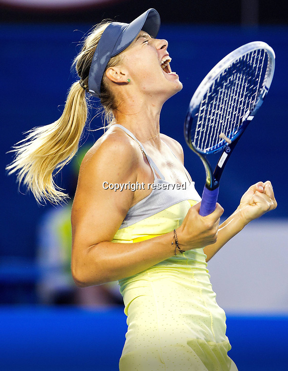 18.01.2013 Melbourne, Australia. Maria Sharapova of Russia reacts after winning her match against Venus Williams on day five of the Australian Open from Melbourne Park.