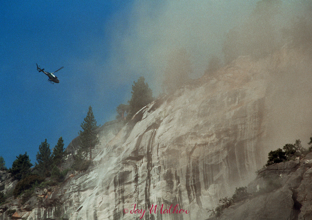 A major rockfall on Glacier Point brought down tons of rock and dust to the Upper Pines campground at the base of the cliff.   July 10, 1996