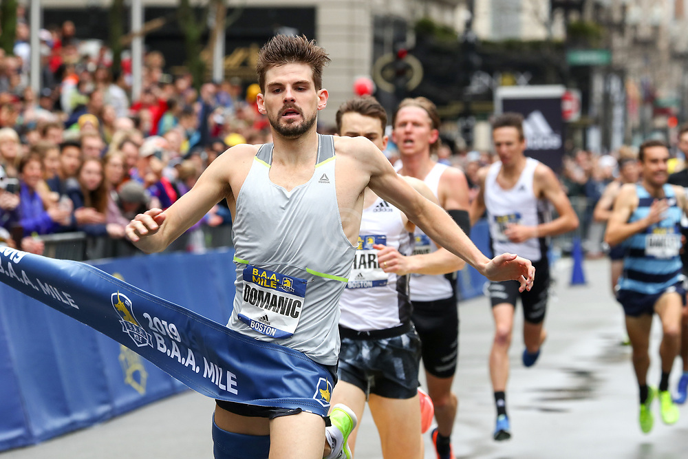 Robert Dominic, Reebok, wins BAA Mile in 4:06.4