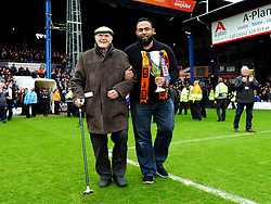 Fred Young and Mostaque Koyes bring the League two runners up trophy out  - Mandatory by-line: James Healey/JMP - 28/04/2018 - FOOTBALL - Kenilworth Road - Luton, England - Luton Town v Forest Green Rovers - Sky Bet League Two