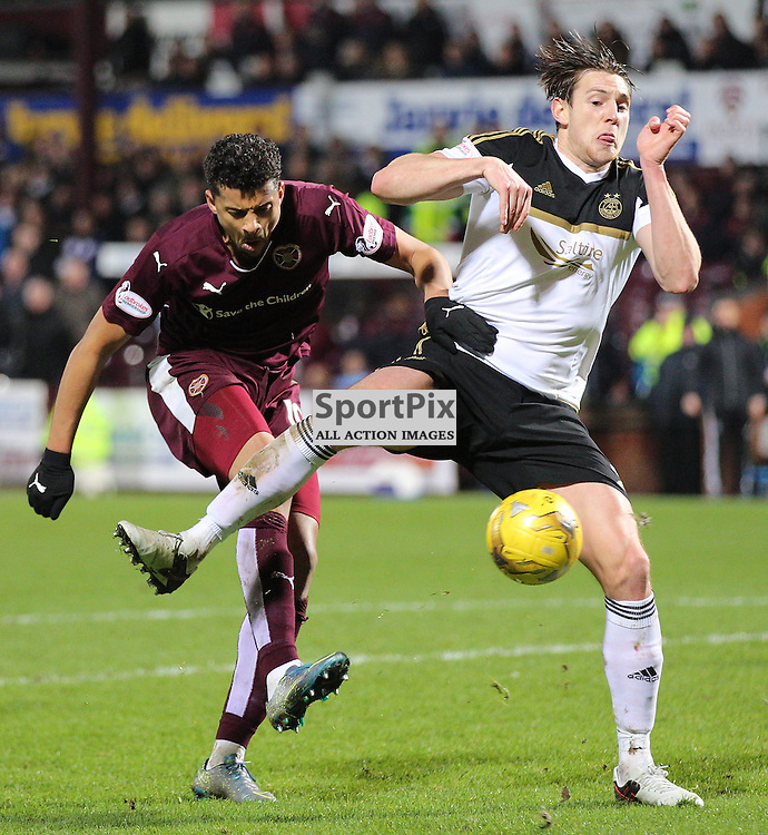 Hearts v Aberdeen Scottish Cup 9 January 2016; Osman Sow (Hearts, 10) can't get his shot away because of good defending from Ashton Taylor (Aberdeen 5) during the Heart of Midlothian v Aberdeen William Hill Scottish Cup fourth round match played at Tynecastle Stadium, Edinburgh; <br /> <br /> &copy; Chris McCluskie | SportPix.org.uk