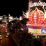 entrance to The Flamingo hotel and casino on The Strip, Las Vegas.