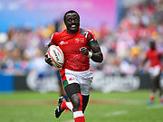 Kenya player Collins Injeria scores a try in the game Kenya vs Spain during the Cathay Pacific/HSBC Hong Kong Sevens festival at the Hong Kong Stadium, So Kon Po, Hong Kong. on 7/04/2018. Picture by Ian  Muir.