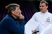 (R) Marcin Matkowski of Poland &amp; (L) Andrew Jarrett ITF supevisor referee while training session three days before the BNP Paribas Davis Cup 2014 between Poland and Croatia at Torwar Hall in Warsaw on April 1, 2014.<br /> <br /> Poland, Warsaw, April 1, 2014<br /> <br /> Picture also available in RAW (NEF) or TIFF format on special request.<br /> <br /> For editorial use only. Any commercial or promotional use requires permission.<br /> <br /> Mandatory credit:<br /> Photo by &copy; Adam Nurkiewicz / Mediasport
