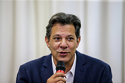 October 8, 2018 - Curitiba, Bresil - Fernando Haddad, Candidate of the Left Workers Party for the office of Brazilian presidency, in to a press conference the day after the first round of elections, at which he was second. In Curitiba, Haddad visited the imprisoned former president Lula da Silva and spoke out in favour of 'uniting all democrats of Brazil'. The ultra-right candidate Bolsonaro received 46 percent of the votes in the first round, Haddad 29 percent. (Foto: Geraldo Bubniak)Fernando Haddad, candidat du Parti ouvrier de gauche au poste de president bresilien, a pris part a une conference de presse le lendemain du premier tour des elections, ou il etait secondFernando Haddad, candidat du Parti ouvrier de gauche au poste de president bresilien, a pris part a une conference de presse le lendemain du premier tour des elections, ou il etait second (Credit Image: © Panoramic via ZUMA Press)