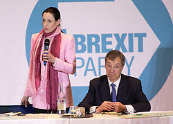 © Licensed to London News Pictures. 20/04/2019. Nottingham, UK. Brexit Party rally. ANNUNZIATA REES-MOGG with NIGEL FARAGE at the Brexit Party rally held at the Albert Hall Conference Centre, Nottingham. Photo credit: Dave Warren/LNP
