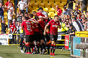 Goal! Danny Mullen of St Mirren secures the points and celebrates in front of the traveling support with his team mates during the Ladbrokes Scottish Premiership match between Livingston and St Mirren at Tony Macaroni Arena, Livingstone, Scotland on 20 April 2019.