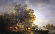 River landscape with rustics and horses at a ferry by moonlight. Smithy and half-timbered cottage surrounded by woods. By EC Williams, British painter.  Oil on canvas. 1860.