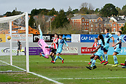 Goal - Scott Brown (1) of Wycombe Wanderers is beaten by a Lloyd James (4) of Exeter City free kick to make the score 1-0 during the EFL Sky Bet League 2 match between Exeter City and Wycombe Wanderers at St James' Park, Exeter, England on 10 February 2018. Picture by Graham Hunt.