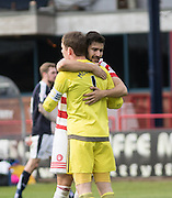 Hamilton&rsquo;s Lucas Tagliapietra and Michael McGovern at the end - Dundee v Hamilton Academical, Ladbrokes Scottish Premiership at Dens Park<br /> <br />  - &copy; David Young - www.davidyoungphoto.co.uk - email: davidyoungphoto@gmail.com