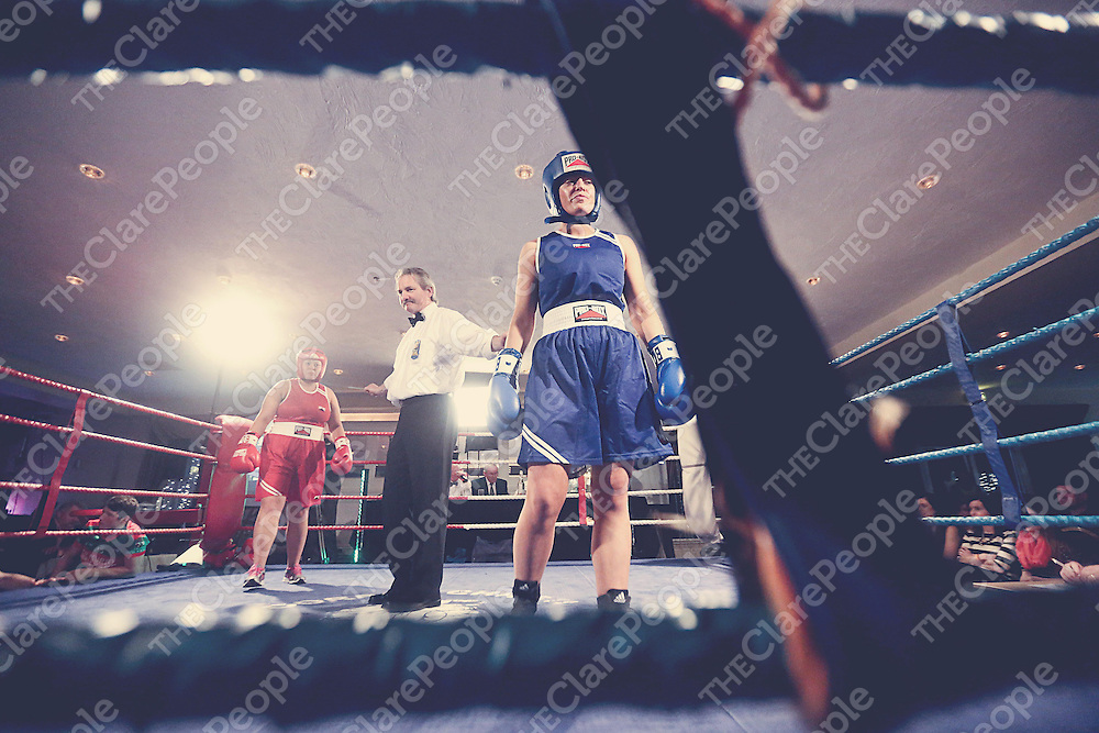 Catriona Hassett - Red and Maeve Coughlan - Blue pictured taking part in the Fundraising Boxing Night in the Armada, Spanish Point on Sunday night.<br /> Pic. Brian Arthur/ Press 22.
