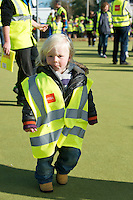 Entitled 'Hi- Five 4 Hi Vis'  A Guinness World Record for the greatest number of people wearing high visibility vests in any one place took  place in Oranmore town centre at the all weather pitch The event was supported by the Garda Siochana and the Road Safety Authority..At the event were hundreds of highly visible 2 year old Aaron Ramberg from Oranmore. Picture :Andrew Downes.