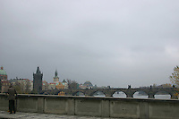 Bridge over River Vltava, Prague, Czech Republic on a cloudy day. Eastern Europe<br />