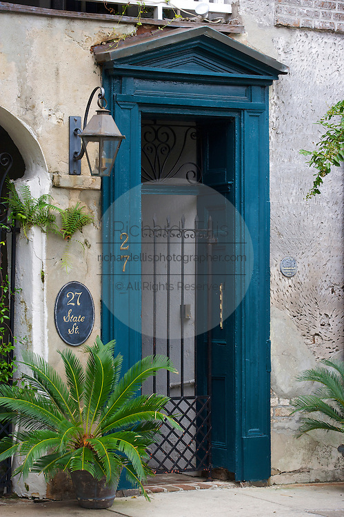 Traditional low country style entry to a home in the French Quarter of Charleston, SC. Charleston founded in 1670 is considered America's most beautifully preserved architectural and historic city.