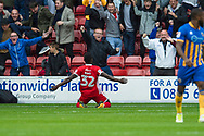 Daniel Agyei of Walsall celebrates his goal during the EFL Sky Bet League 1 match between Walsall and Shrewsbury Town at the Banks's Stadium, Walsall, England on 7 October 2017. Photo by Darren Musgrove.
