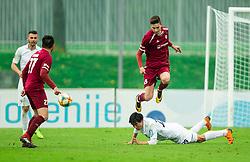 Zan Kumer of Triglav vs LI Haoran of Rudar during Football match between NK Triglav and NK Rudar in 27th Round of Prva liga Telekom Slovenije 2018/19, on April 13, 2019, in Sports centre Kranj, Slovenia. Photo by Vid Ponikvar / Sportida