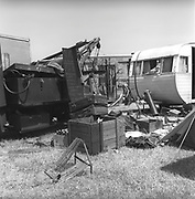 Trunks and crates on a camp site, Glastonbury, Somerset, 1989