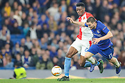 Slavia Prague midfielder Petr Sevcik (23) and Chelsea midfielder Mateo Kovacic (17) battle for the ball during the Europa League  quarter-final, leg 2 of 2 match between Chelsea and Slavia Prague at Stamford Bridge, London, England on 18 April 2019.