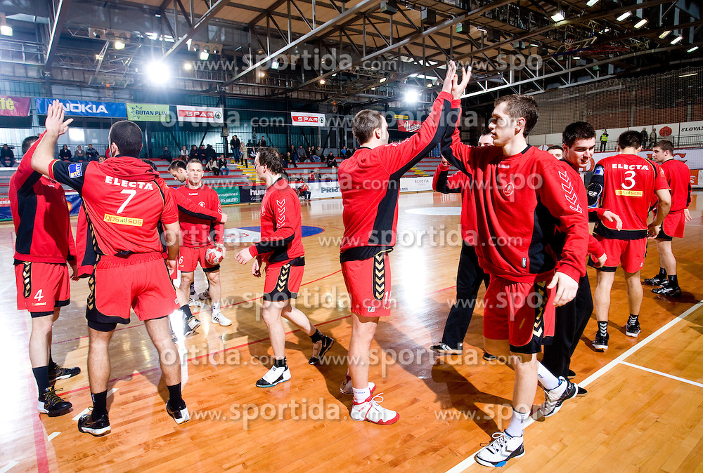 Players of Slovan during the 1/ 8 Men's European Handball Challenge Cup match between RD Slovan, Slovenia and Ystads IF, Sweden, on February 21, 2009 in Arena Kodeljevo, Ljubljana, Slovenia. Slovan defeated Ystads 37-27 and qualified to quarterfinals. (Photo by Vid Ponikvar / Sportida)