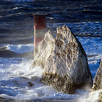 UK Weather.Very rough weather and high winds off The Needles, More wind and rain batters the United Kingdom from Atlantic weather systems Isle of Wight,England, UK,