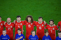 CARDIFF, WALES - Sunday, October 13, 2019: Wales' (L-R) Jonathan Williams, Ben Davies, Ethan Ampadu, Tom Lockyer and Joe Allen sing the national anthem before the UEFA Euro 2020 Qualifying Group E match between Wales and Croatia at the Cardiff City Stadium. (Pic by Paul Greenwood/Propaganda)