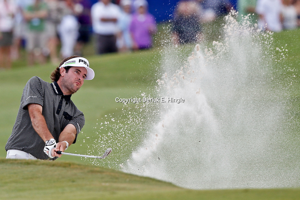 Apr 29, 2012; Avondale, LA, USA; Bubba Watson on the 18th hole during the final round of the Zurich Classic of New Orleans at TPC Louisiana. Mandatory Credit: Derick E. Hingle-US PRESSWIRE