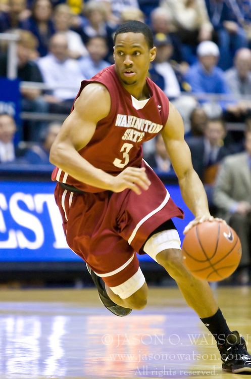 February 13, 2010; Berkeley, CA, USA;  Washington State Cougars guard Reggie Moore (3) during the second half against the California Golden Bears at the Haas Pavilion.  California defeated Washington State 86-70.