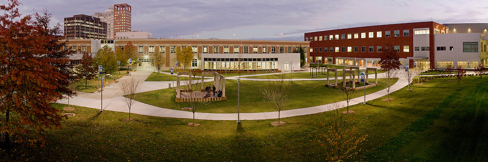 A central courtyard offers student a place to relax, study and socialize between classes at Housatonic Community College in Bridgeport, CT.