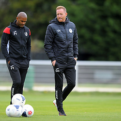 TELFORD COPYRIGHT MIKE SHERIDAN AFC Telford boss Gavin Cowan and assistant Phil Trainer during the National League North fixture between Brackley Town and AFC Telford United at St James's Park on Saturday, September 7, 2019<br /> <br /> Picture credit: Mike Sheridan<br /> <br /> MS201920-016