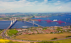 The three bridges over the Forth Estuary looking resplendent on one of the warmest days of the year. Photo taken from helicopter 17052018 pic copyright Terry Murden @edinburghelitemedia