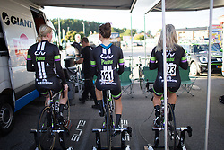 Rozanne Slik (NED) (L), Leah Kirchmann (CAN) (M) and Sara Mustonen (SWE) (R) of Liv-Plantur Cycling Team cool down after the 42,5 km team time trial of the UCI Women's World Tour's 2016 Crescent Vårgårda women's road cycling race on August 19, 2016 in Vårgårda, Sweden. (Photo by Balint Hamvas/Velofocus)