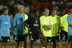 BANGKOK, THAILAND - Wednesday, July 23, 2003: Liverpool players (l-r) Vladimir Smicer, Zac Whitbread, Markus Babbel, Florent Sinama-Pongolle, Danny Murphy and Milan Baros during a training session in at the Rajamangala National Stadium. (Pic by David Rawcliffe/Propaganda)
