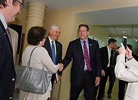 Governor Chris Sununu is greeted by NH State Representatives Cindy Rosenwald and William Marsh upon his arrival to LRGH where he signed bill HB 1791 and bill 376 on Thursday morning.  (Karen Bobotas/for the Laconia Daily Sun)