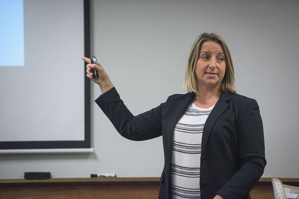 Tammy Rapp, Assistant Professor and Associate Director of Ohio University's College of Business Honors Program, teaches her honors class in Copeland Hall on Tuesday, October 18, 2016.
