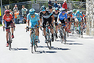 40° Giro del Trentino Melinda 2a tappa Arco- Anrass 220km,a destra Gianni Moscon e a sinistra Landa Meana Mikeal,20 Aprile 2016 © foto Daniele Mosna