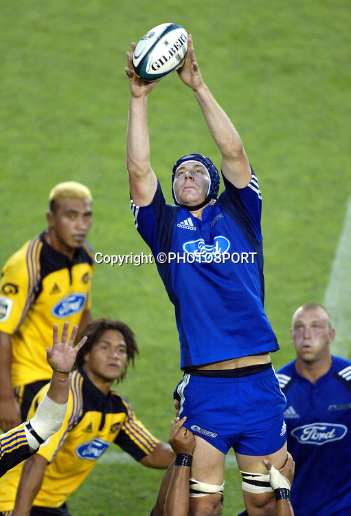 Blues lock Ali Williams during the Super 14 rugby union match between the Auckland Blues and Wellington Hurricanes at Eden Park, Auckland, on Friday 10 February, 2006. The Hurricanes won the match 37-19. Photo: Renee McKay/PHOTOSPORT<br />