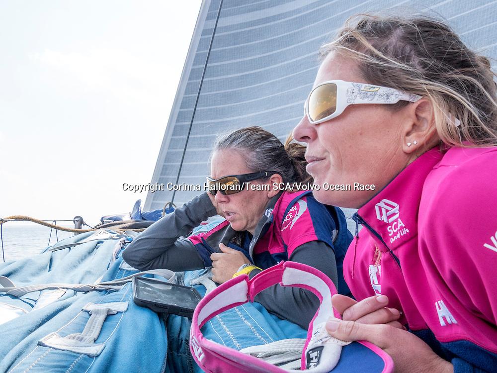 January 5, 2015. Leg 3 onboard Team SCA. Libby Greenhalgh and Sam Davies talk navigation strategies.