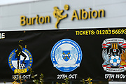 General view of the promotion board at the Pirelli Stadium during the EFL Sky Bet League 1 match between Burton Albion and Peterborough United at the Pirelli Stadium, Burton upon Trent, England on 27 October 2018.
