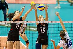 24.09.2011, Hala Pionir, Belgrad, SRB, Europameisterschaft Volleyball Frauen, Vorrunde Pool A, Deutschland (GER) vs. Ukraine (UKR), im Bild Christiane Fürst / Fuerst (#11 GER / Istanbul TUR), Maren Brinker (#15 GER / Pesaro ITA) - Nadila Kodola (#16 UKR) // during the 2011 CEV European Championship, First round at Hala Pionir, Belgrade, SRB, 2011-09-24. EXPA Pictures © 2011, PhotoCredit: EXPA/ nph/  Kurth       ****** out of GER / CRO  / BEL ******