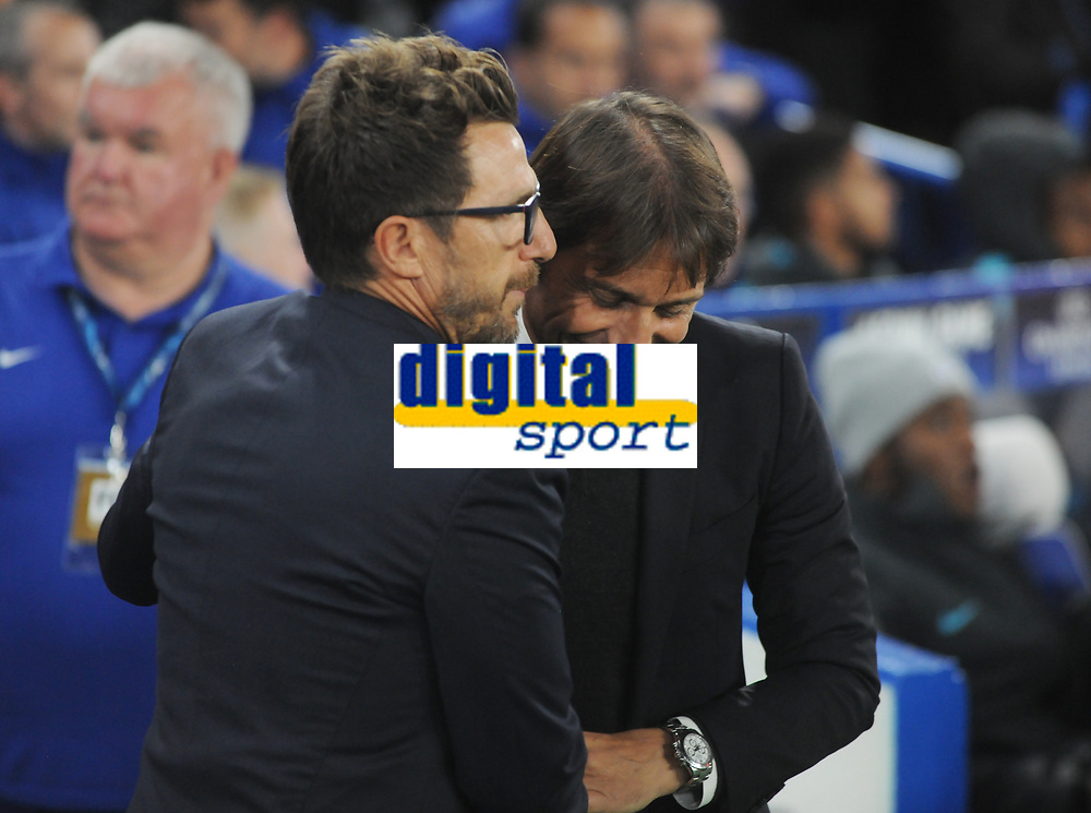 Football - 2017 / 2018 UEFA Champions League - Group C: Chelsea vs. A.S. Roma<br /> <br /> Chelsea manager Antonio Conte greets Roma head coach Eusebio di Francesco at Stamford Bridge.<br /> <br /> COLORSPORT/ANDREW COWIE