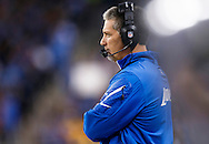 Detroit Lions head coach Jim Schwartz on the sideline against the Green Bay Packers during an NFL football game at Ford Field in Detroit, Thursday, Nov. 28, 2013. (AP Photo/Rick Osentoski)
