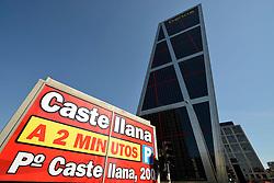 THEMENBILD - Madrid ist seit Jahrhunderten der geographische, politische und kulturelle Mittelpunkt Spaniens (siehe Kastilien) und der Sitz der spanischen Regierung. Hier residieren auch der König, ein katholischer Erzbischof sowie wichtige Verwaltungs- und Militärbehörden. Als Handels- und Finanzzentrum hat die Stadt nationale und internationale Bedeutung. Hier im Bild Moderne Buerotuerme Puerta de Europa, auch Torres Kio, mit der Hauptverwaltung, Zentrale der Bank Bankia, Plaza Castilla // THEMATIC PACKAGES - Madrid is the capital and largest city of Spain. The population of the city is roughly 3.3 million and the entire population of the Madrid metropolitan area is calculated to be around 6.5 million. It is the third-largest city in the European Union, after London and Berlin, and its metropolitan area is the third-largest in the European Union after London and Paris. The city spans a total of 604.3 km2. EXPA Pictures © 2014, PhotoCredit: EXPA/ Eibner-Pressefoto/ Weber<br /> <br /> *****ATTENTION - OUT of GER*****
