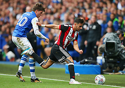 Adam Reach of Sheffield Wednesday challenges George Baldock of Sheffield United - Mandatory by-line:  Matt McNulty/JMP - 24/09/2017 - FOOTBALL - Hillsborough - Sheffield, England - Sheffield Wednesday v Sheffield United - Sky Bet Championship