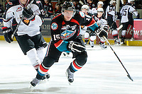 KELOWNA, CANADA, OCTOBER 1: Colton Sissons #15 of the Kelowna Rockets skates against the Vancouver Giants on October 1, 2011 at Prospera Place in Kelowna, British Columbia, Canada (Photo by Marissa Baecker/Getty Images) *** Local Caption ***