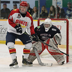 DRYDEN, ON - MAY 1: Ben Evans #14 of the Wellington Dukes battles for position in the crease as Landon Pavlisin #35 of the Dryden GM Ice Dogs  follows the play in the first period during Game Two of the Central Canadian Junior Championship during the 2018 Dudley Hewitt Cup on May 1, 2018 at the Dryden Memorial Arena in Dryden, Ontario, Canada. (Photo by Tim Bates/DHC via OJHL Images)