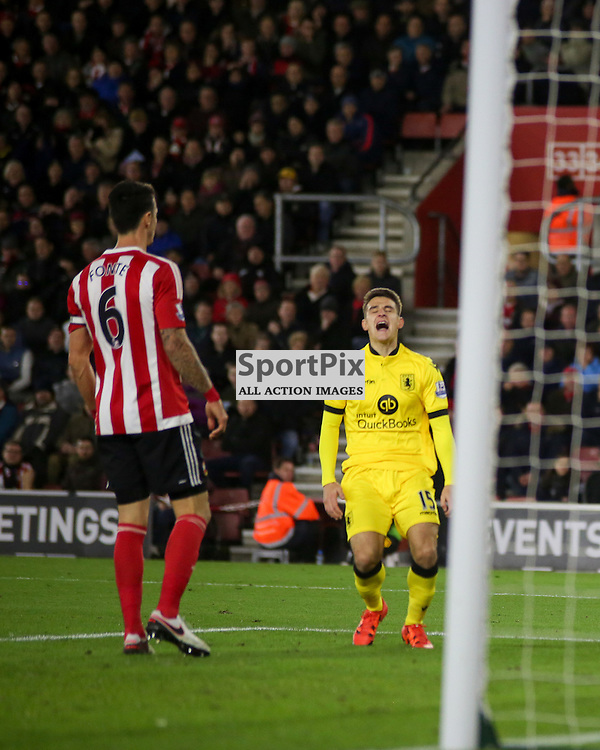 Ashley Westwood  looks dejected after missing During Southampton vs Aston Villa on Saturday the 5th December 2015.