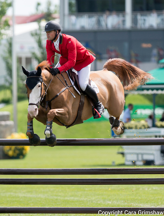 FRANCOIS MATHY (BEL) rides ELVIS VAN DE VRUNTE in the 1.50m Derby Nexen Cup during National CSI 5* at Spruce Meadows presented by Rolex, June 7 2015. Calgary.