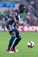 MELBOURNE, AUSTRALIA - APRIL 14: Thomas Deng (14) of the Victory controls the ball during round 25 of the Hyundai A-League match between Melbourne Victory and Central Coast Mariners on April 14, 2019 at AAMI Park in Melbourne, Australia. (Photo by Speed Media/Icon Sportswire)