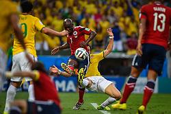 David Luiz na partida entre Brasil x Colombia, válida pelas quartas de final da Copa do Mundo 2014, no Estádio Castelão, em Fortaleza-CE. FOTO: Jefferson Bernardes/ Agência Preview