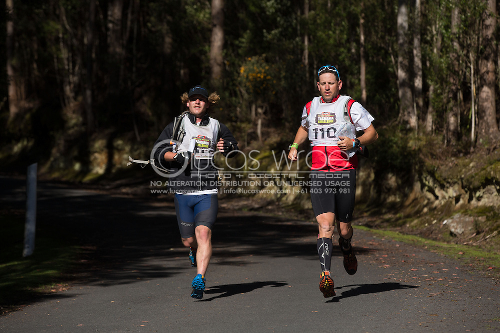 Team Macks Advisory (Denis Perry and Nicholas White). Adventure Racing. Swisse Mark Webber Challenge 2013. Hobart, Tasmania, Australia. 01/12/2013. Photo By Lucas Wroe